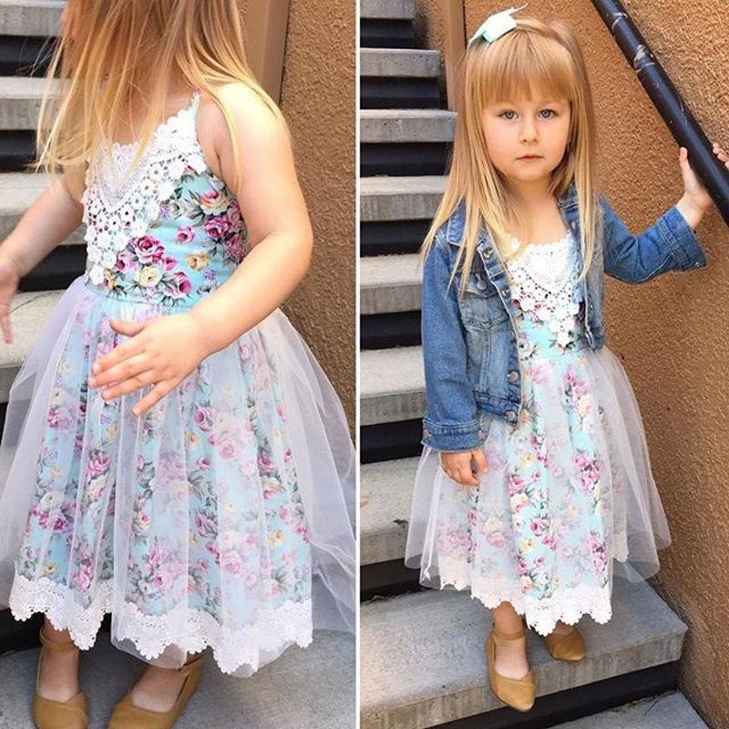 Малыш дети младенца девочек кружево цветочные платья Тюль Платья Летний сарафан платья для девочек