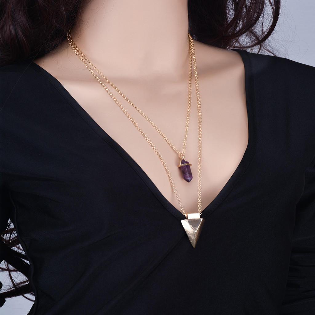Женщины ювелирные изделия античный Фиолетовый Кристалл Кулон Золотая цепочка ключицы ожерелье