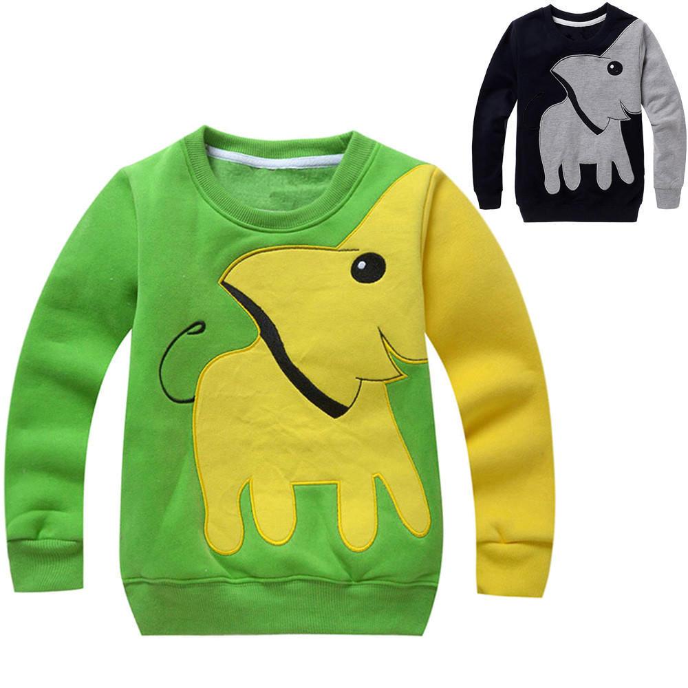 Малыш ребенка девочек Одежда для мальчиков слон длинный рукав блузки топы свитер рубашки