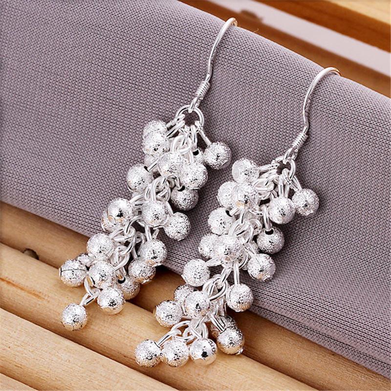 1 пара моды женщина матовое винограда Серьги серебряные позолоченные серебряные серьги ювелирные ...