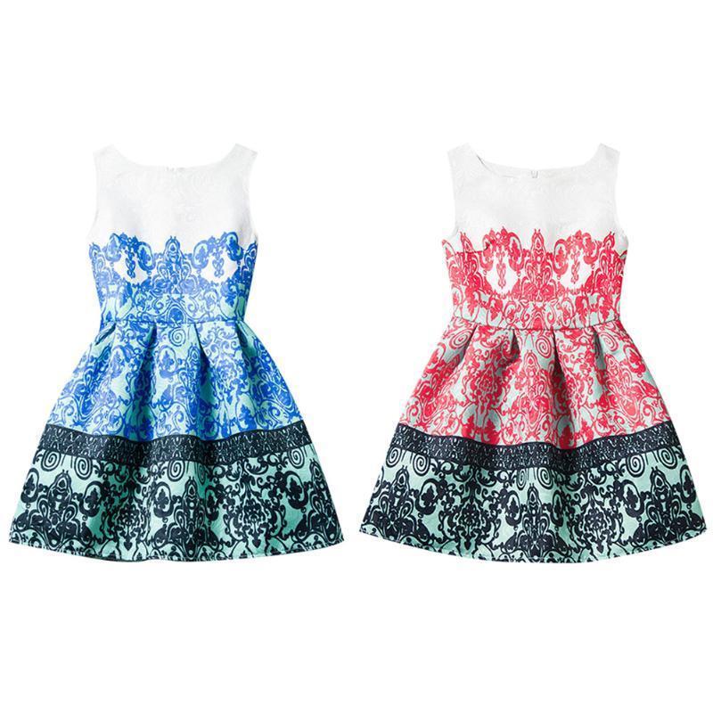 2016 лета стиль рукавов ретро печатных дети платья Одежда для девочек платья для девочек