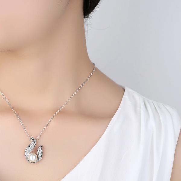 Ожерелье ювелирные изделия жемчуг горный хрусталь форма U