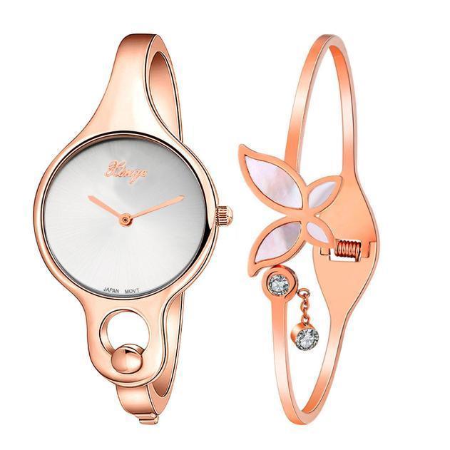 Золотой горный хрусталь браслет часы и браслет набор 16 стили