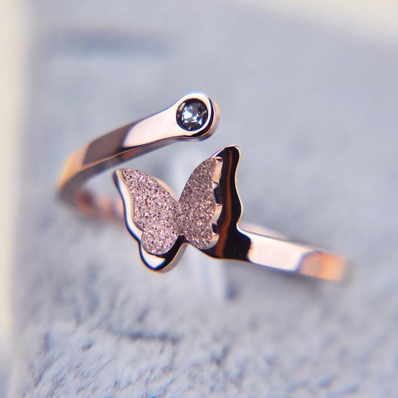 Мода женщины матового бабочка творческие подарки милые открытые кольца ювелирные изделия