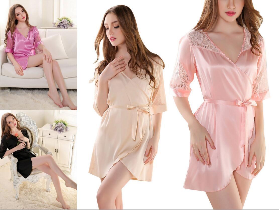 Женщины сон носит сексуальное платье кружева очаровательной сна пижамы ночной халат Шелковый купить шелковый халат мужской спб