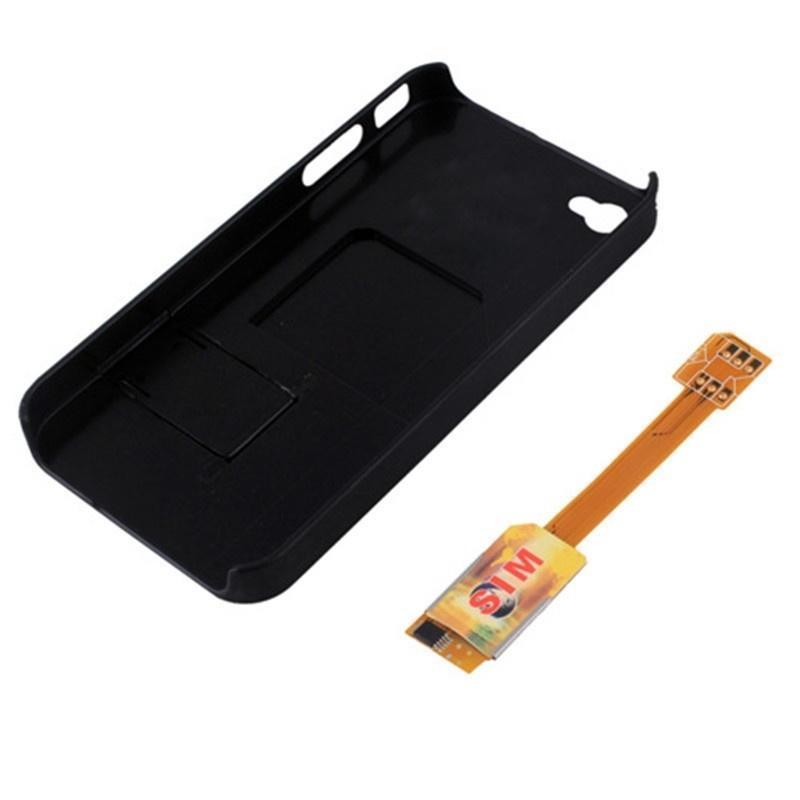 Двойной SIM карты адаптер конвертер с обратно чехол Обложка подставка для iPhone 4S/4 новых