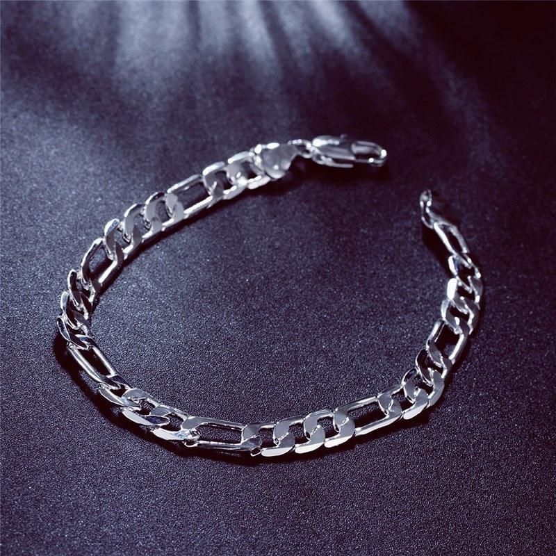 925 серебряные позолоченные мужчин женщин очарование стороны цепи Браслеты Браслет ювелирных изделий