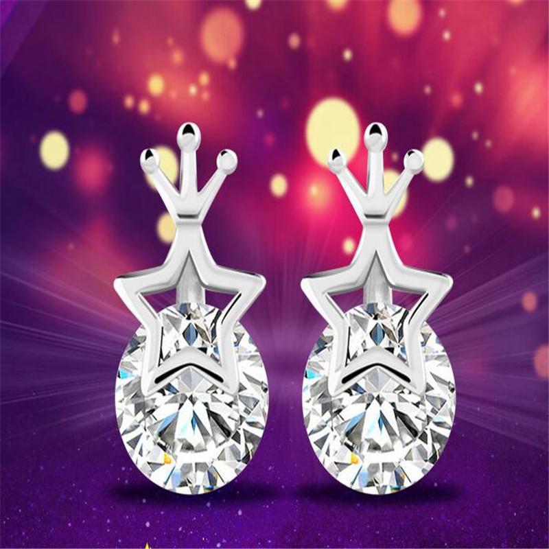 Мода принцесса звезды серебряные серьги пятиконечная звезда корону Серьги серебряные серьги подарок