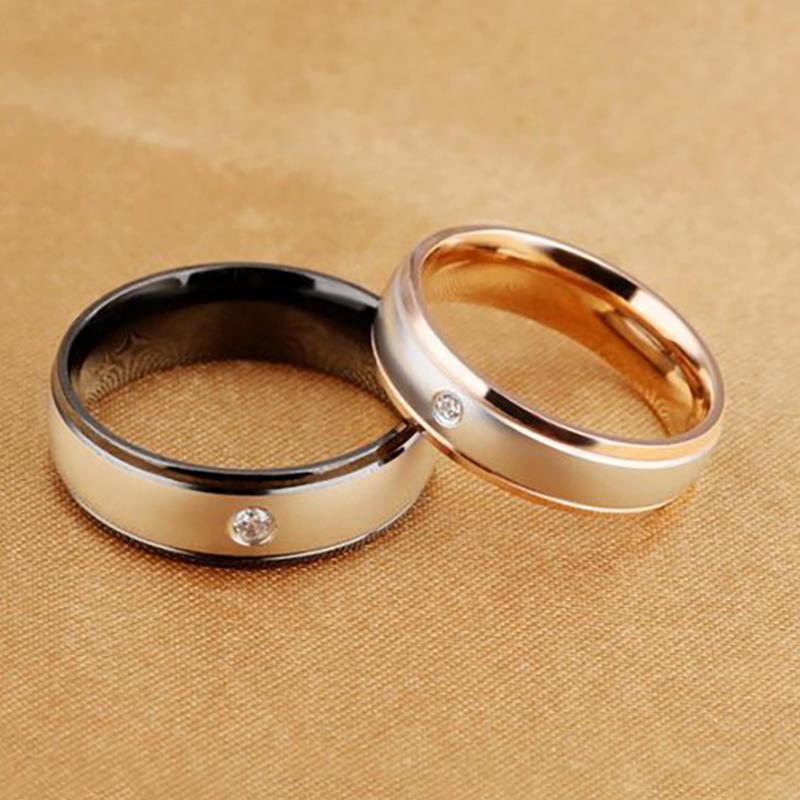 Новая мода кольца из нержавеющей стали для любителей золота гальваническим Классическая пара женщ...
