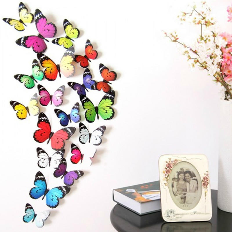 amaonm removable cartoon pvc 3d diy colorful butterfly wall