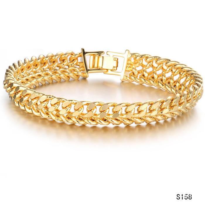 Классический мужской снаряженная цепи золото покрытием ссылка браслет