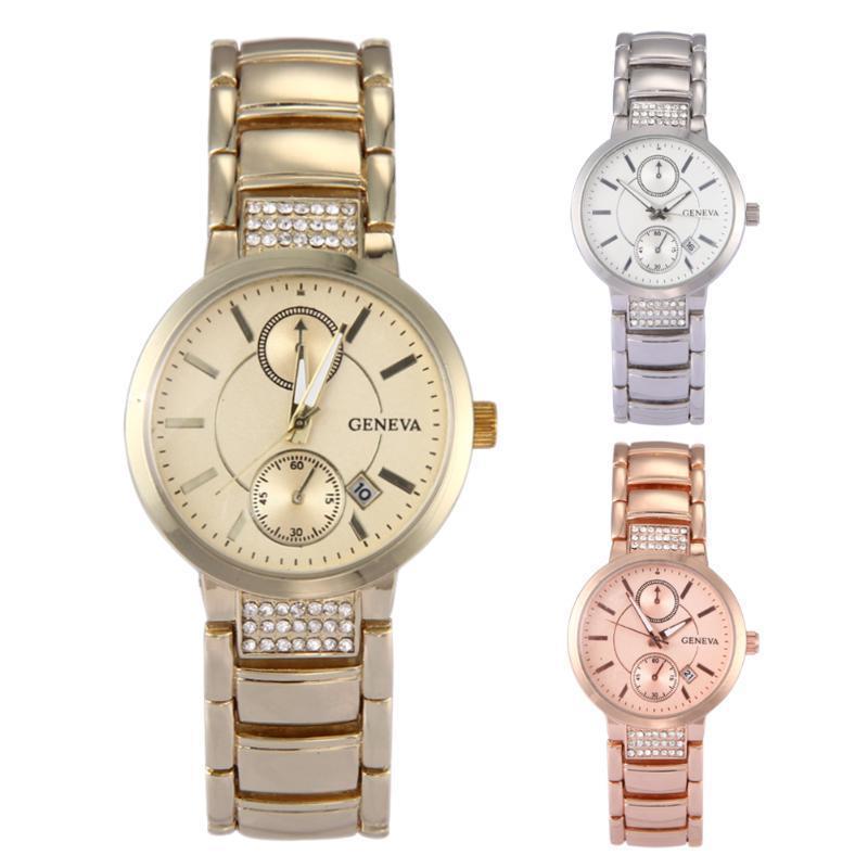 Роскошные золотые мужские часы Женева стали женщин кварцевые часы