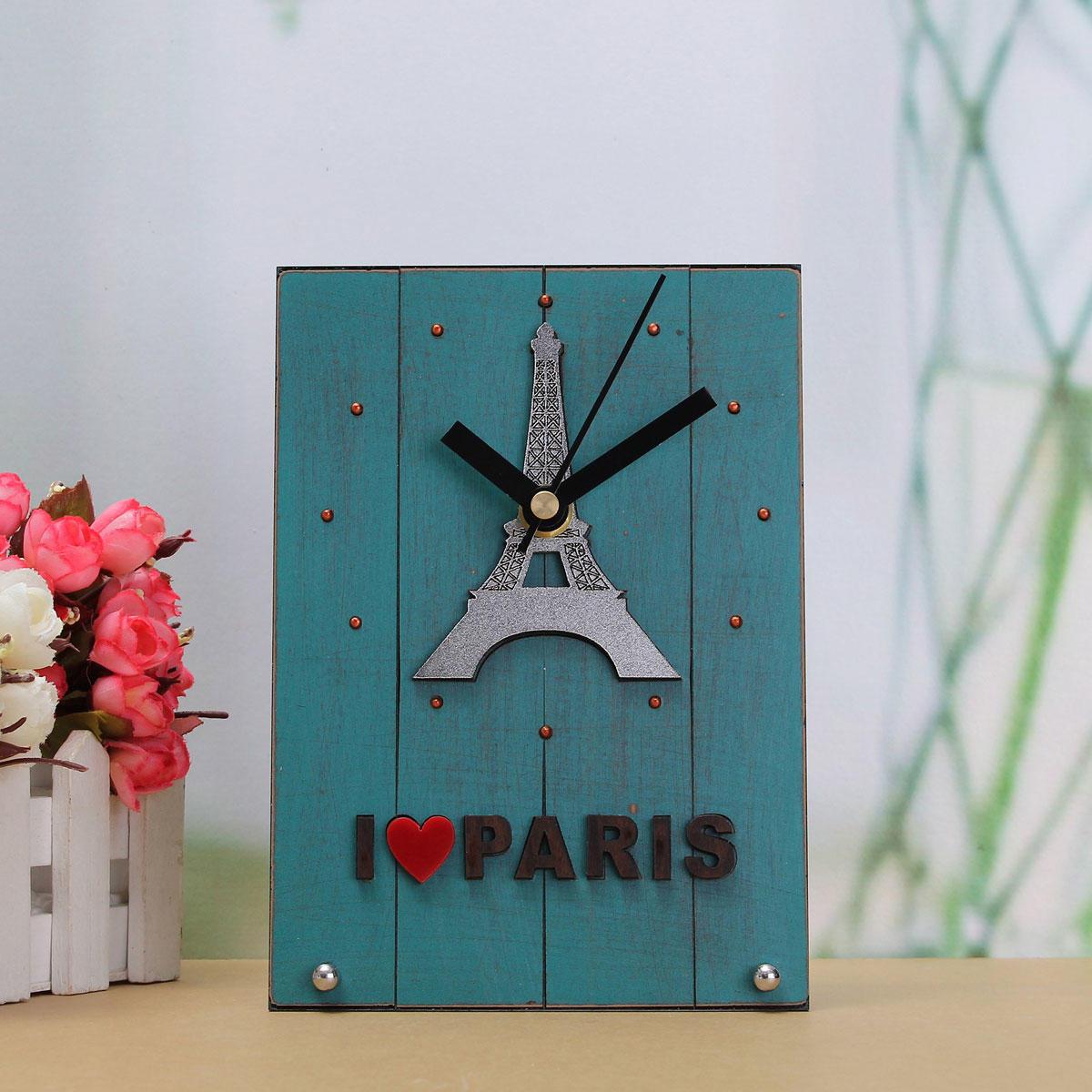 Эйфелева башня Винтаж голубой, я люблю Париж будильник часы настольные деревянные подарочные комн... ювелирные шармы bunny шарм подвеска я люблю париж