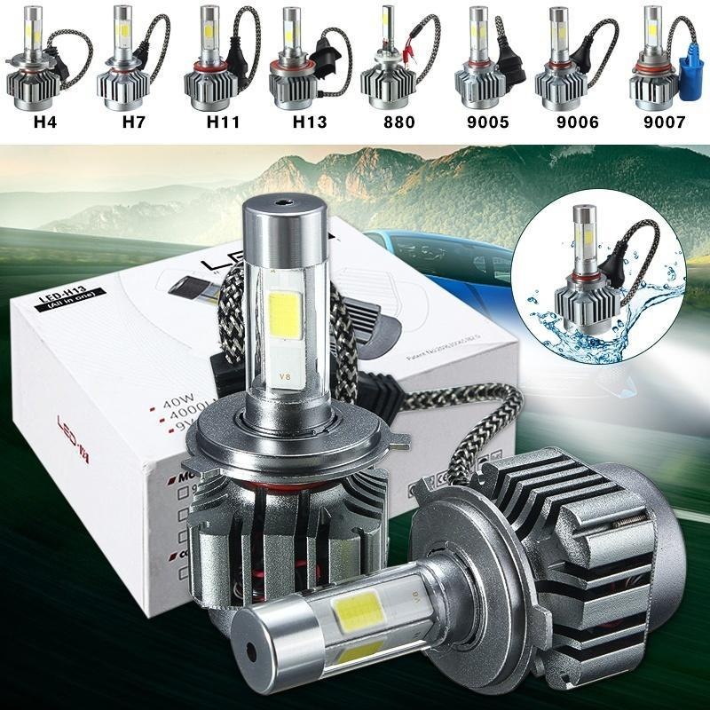 2шт 80W 8000LM H4(Double Beam)/H7/H11/H13(Double Beam)/880/9005/9006/9007(Double Beam) COB светод... led h4 h7 h11 h1 h10 hb3 h13 h3 9004 9005 9006 9007 cob led car headlight bulb 80w 8000lm 6000k auto headlamp 200m light range