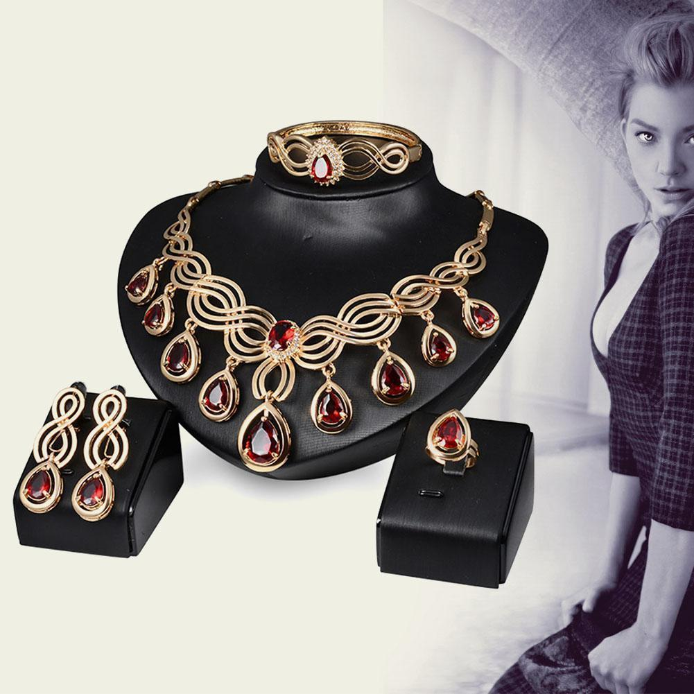 Красный ювелирных изделий набор текстур многослойных веревку ожерелье серьги ювелирных изделий Rh...