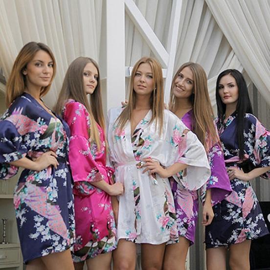 Женская мода Faux Шелковый халат Павлин печати сексуальное платье Халат пижамы купить шелковый халат мужской спб