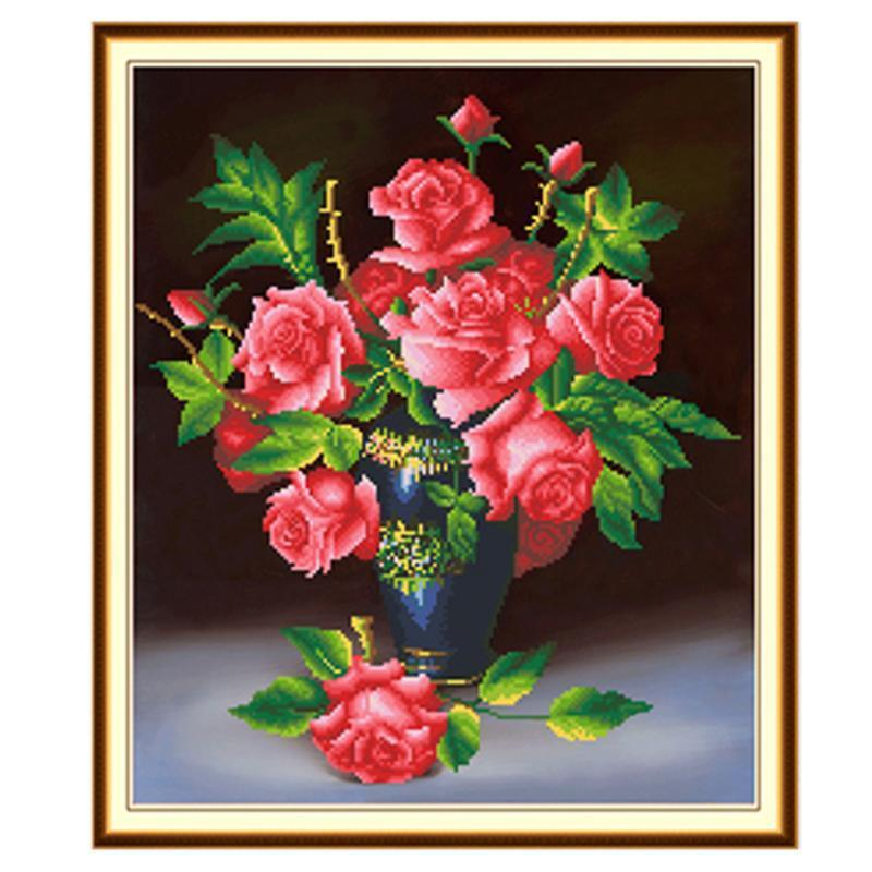 5d diy diamond roses in vase mosaic embroidery painting craf