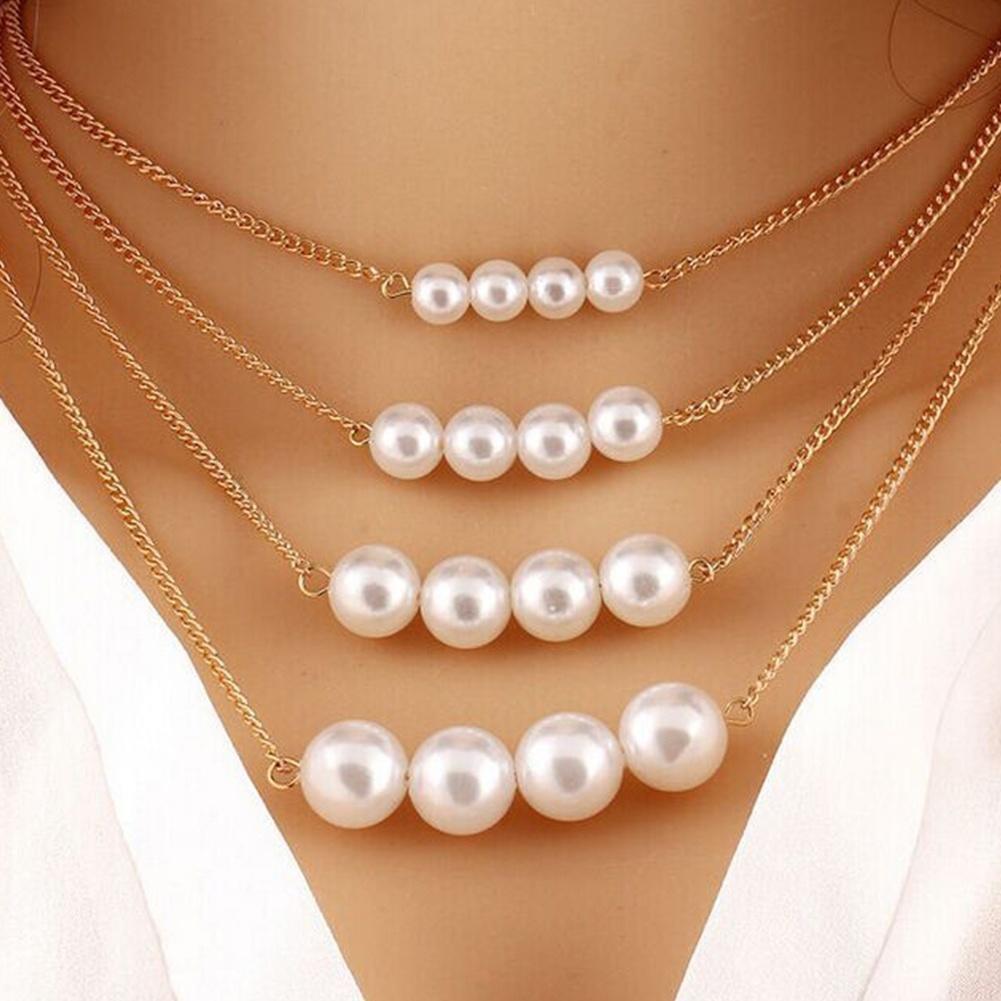 Новый мульти слой ожерелье жемчуг ювелирные изделия кулон ожерелье
