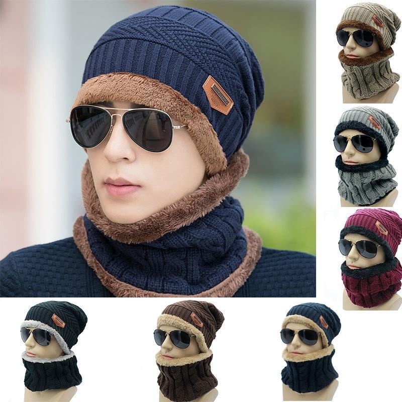 Шапка мужская Зимняя шапка шапки капота Зимние шапки для мужчин теплый мешковатые вязаная шапка и... шапки loricci комплект шапка снуд