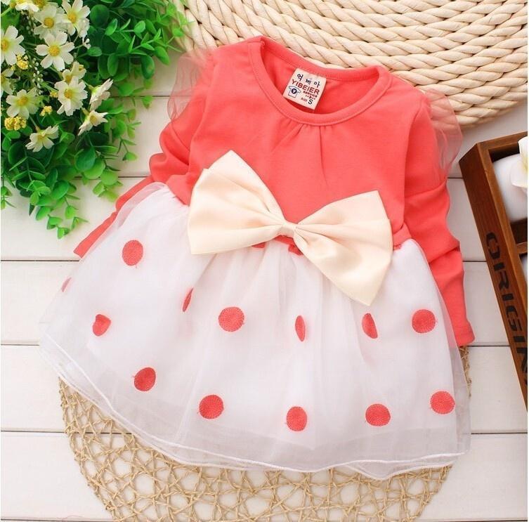 Девочка платье новые платья для девочек bebe новорожденных детей девочек бантом с длинным рукавом... платья для девочек
