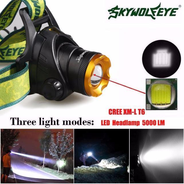 5000Lm CREE XM-L T6 привело фары фары фонарик голову света лампы 18650 фонарик womo xm l t6 cree 5 2000 for3aaa 18650 xml t6