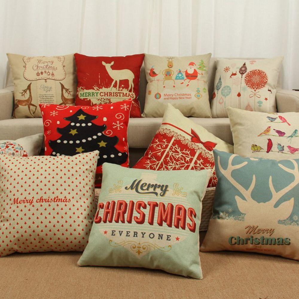 home car ornament sofa waist cotton xmas throw pillow case c