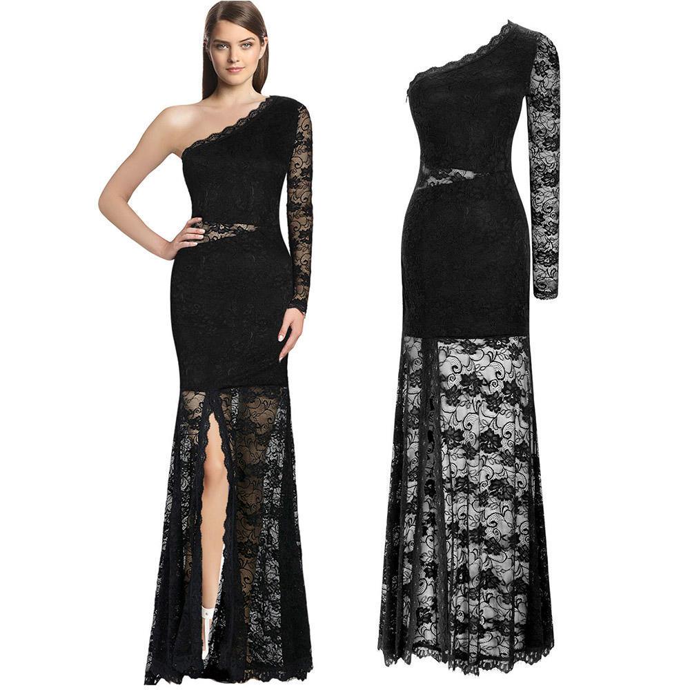 Женская одежда Сексуальные черные кружева склонны плечо кружева длинные платья
