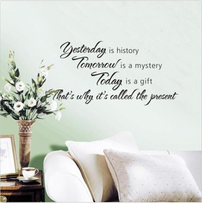Цитата вчера это история сегодня тайна завтра подарок Стикеры Термоаппликации декор стен