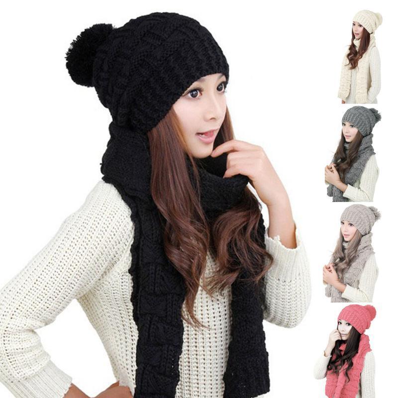 Зимой теплый шарф женщин Wrap шляпа набор вязаный спицами тюбетейки черный