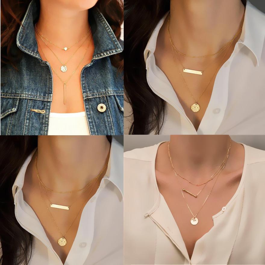 Заявление цепи Кулон новых женщин золотые Bib длинное ожерелье многослойных колье