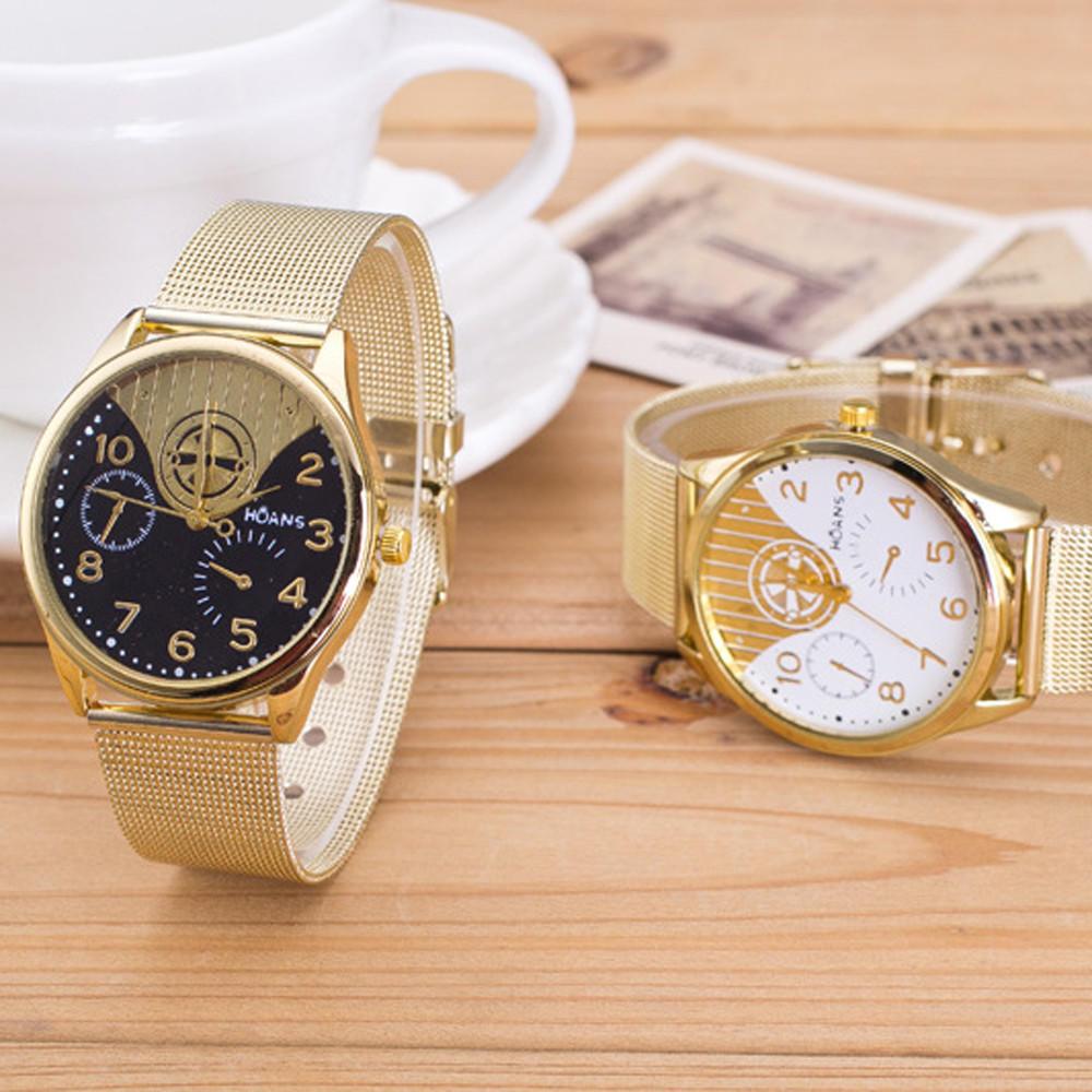 Женщины Дамы золотые сетка Браслет наручные часы