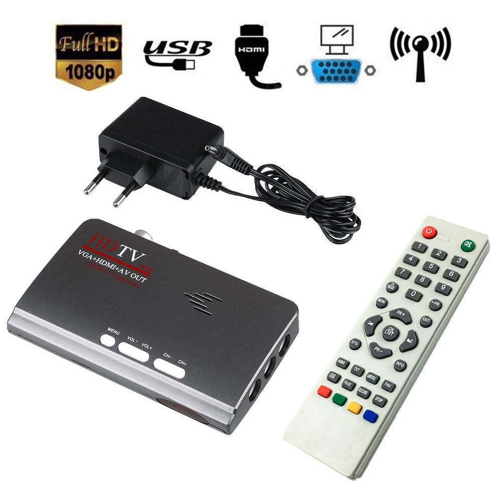 HDMI 1080P VGA DVB-T2 TV Box VGA AV CVBS тюнер ресивер с дистанционным управлением original satlink ws 7990 4 route dvb t modulator av hdmi four router dm modulator dvb t av hd digital rf modulator