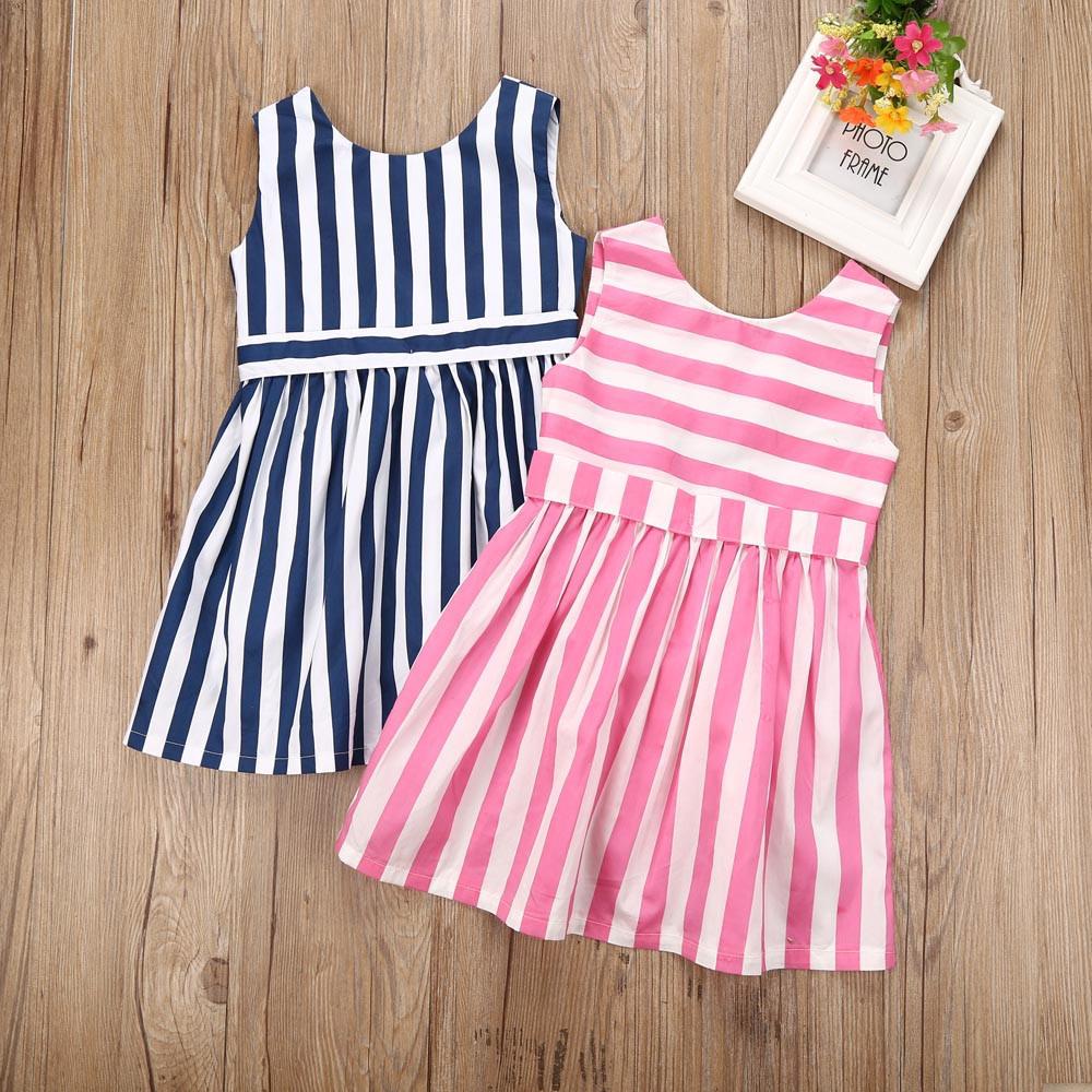 Малыш детей Baby Одежда полосой рукавов бантом принцесса платья для девочек платья для девочек