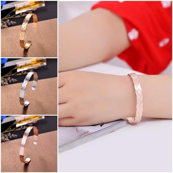 Женщины стильный манжеты браслет тонкий золотой посеребренные Открытый браслет