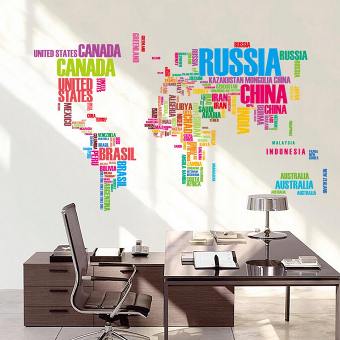 Письмо карта мира цитата съемных Настенная живопись виниловые наклейки на стены казань настенная карта