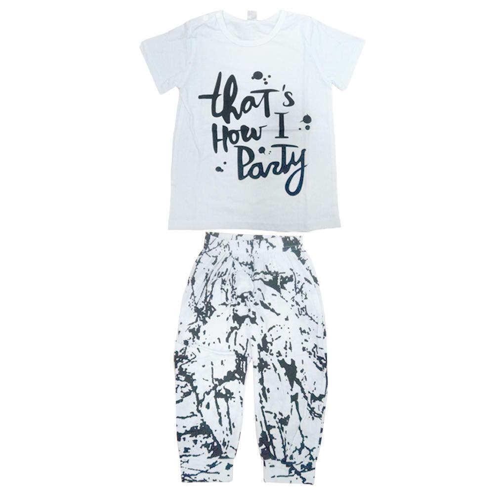 Корейский стиль унисекс летом Baby костюмы шаблоны хлопок футболки брюки костюмы костюмы