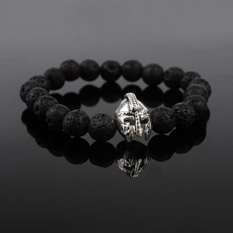 Черной лавы рок бисером браслет браслет шлем для мужчин вышивка бисером молящийся христос