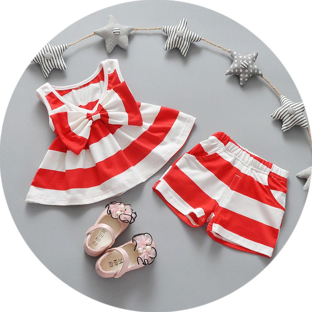 Новорожденных девочек полосатых Bowtie топы платья + шорты брюки костюмы одежда набор вязаные платья для новорожденных девочек