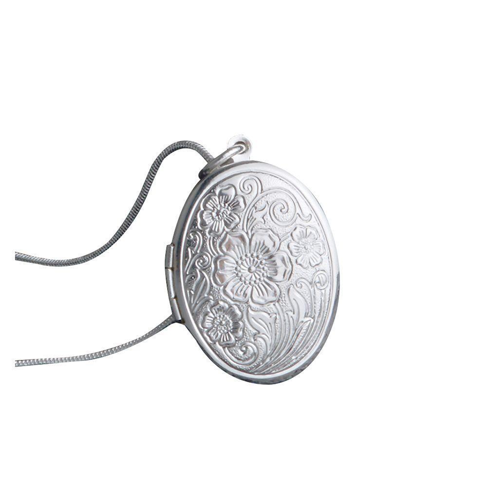 Ожерелье женщин фото медальон кулон серебро покрытием змея цепи Роза принт