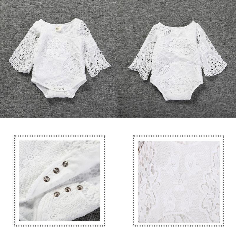 Летом новорожденных Комбинезоны девочек платья мягкие кружева битой рукава цельный платье вязаные платья для новорожденных девочек