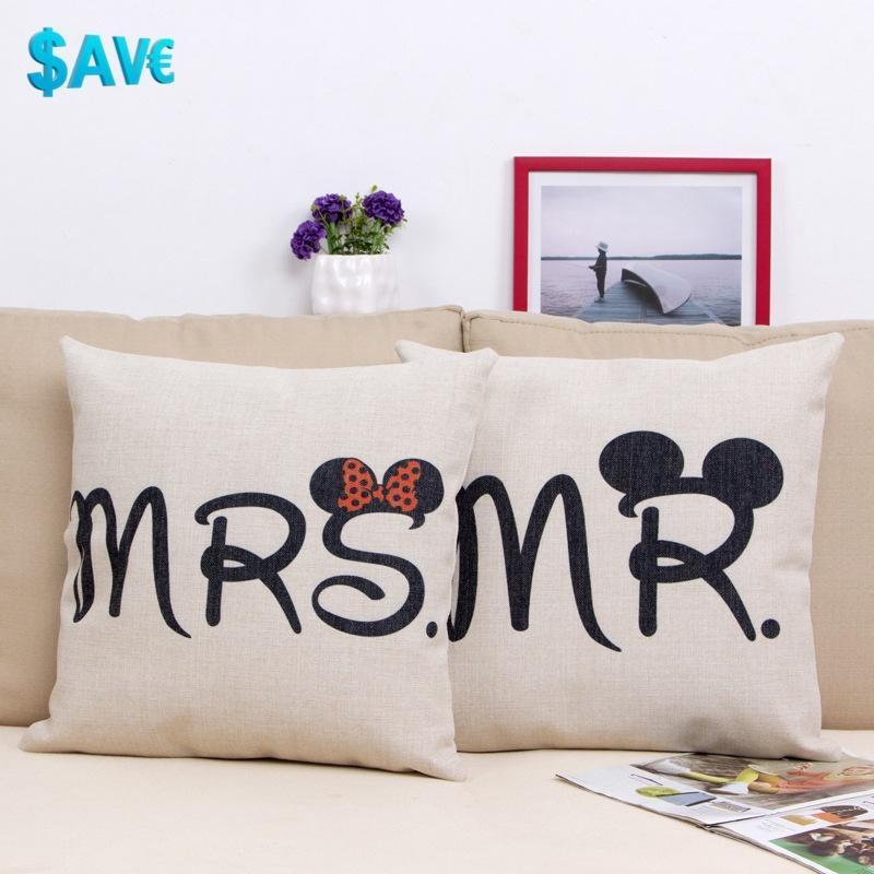 stylish lover decor cotton linen pillow case sofa waist thro