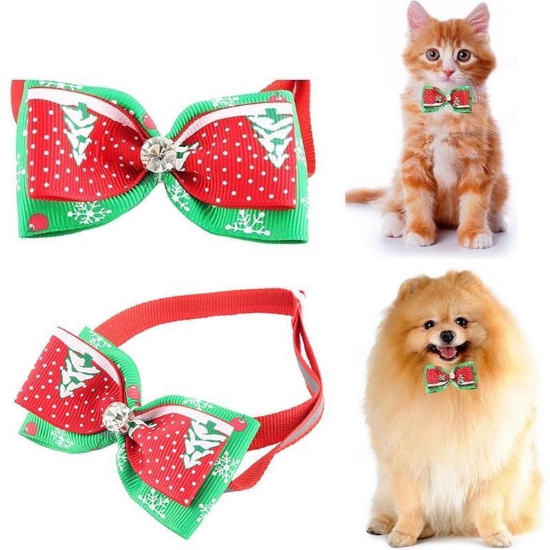 Связывает новый Рождественский Pet подарок Cat собака шеи галстуки Щенок уход Xmas воротник бант галстуки
