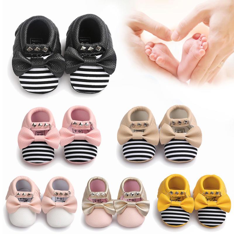 Горячие Продажа Baby бантом полосой заклепки мягкой подошве туфли подростковые кроссовки туфли