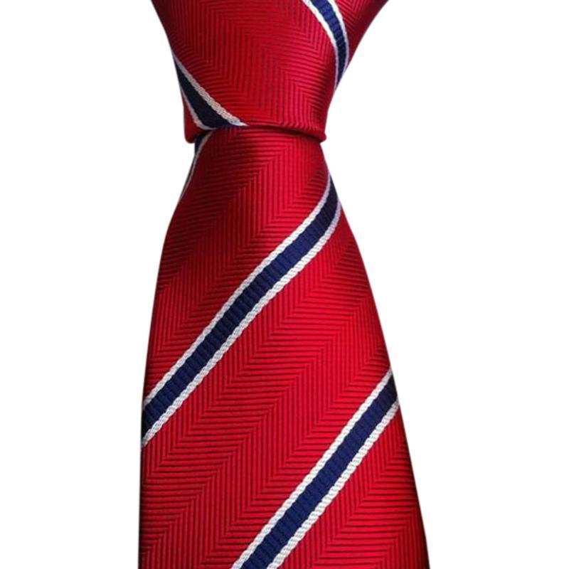 Красный синий полоски шелковый галстук Жаккардовые тканые классический галстук мужской галстук купить шелковый халат мужской спб