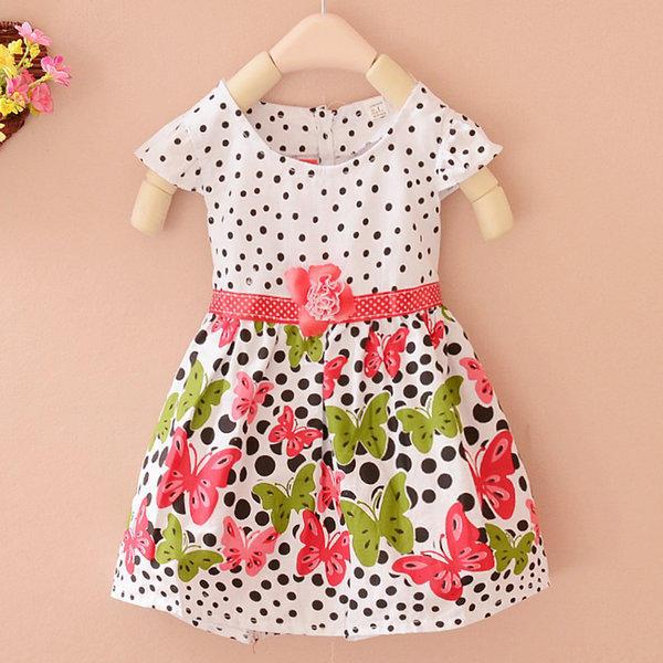 Младенца девочек Детские платья горошек бабочка принцесса платье платья для девочек