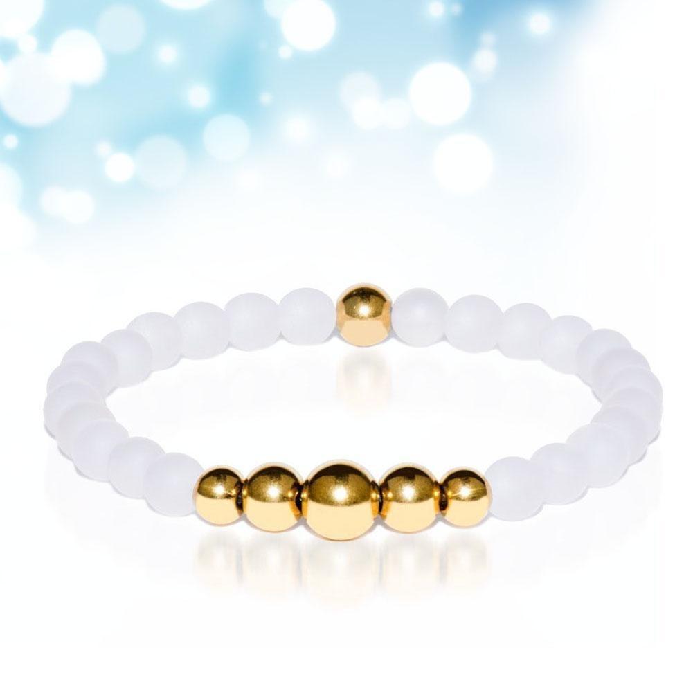 Белый Агат с золотой бисером унисекс эластичный браслет браслет браслет M