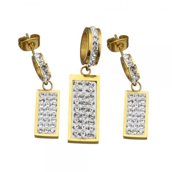 Нержавеющая сталь Rhinestone собака метки кулон серьги задает женщин золотые кольца ювелирные изд...