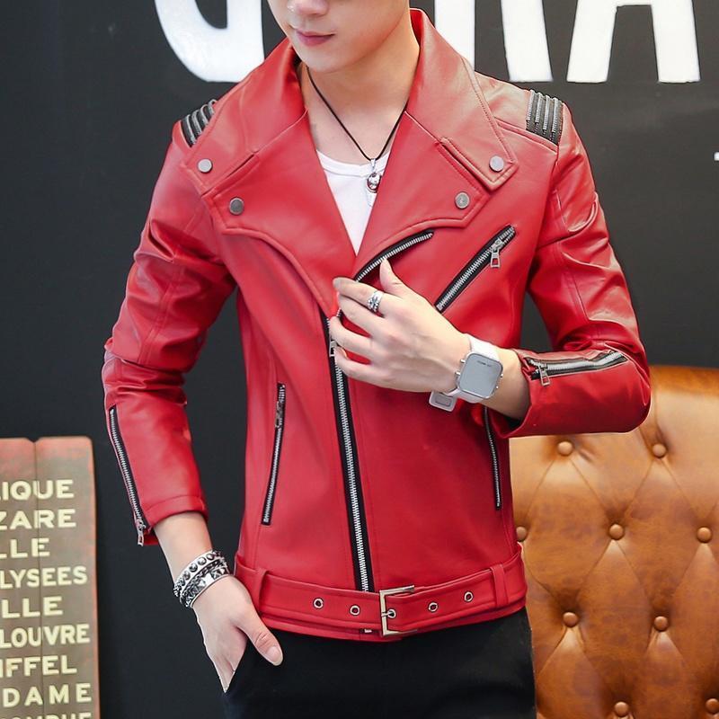 Мужской моды кожа куртка мода случайные кожаное пальто SL пальто мужское кожаное в москве