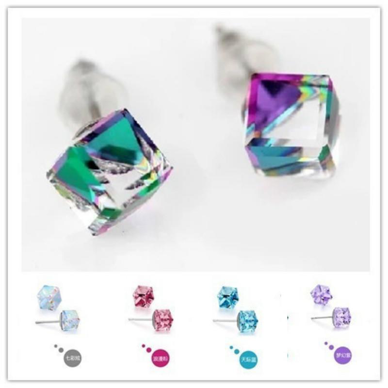 S925 Серебряные серьги счастье куб многоцветной серьги квадрат анти аллергии серьги с подвесками jv серебряные серьги с жадеитами куб циркониями и силиконом a4944 jd js ci 001 wg
