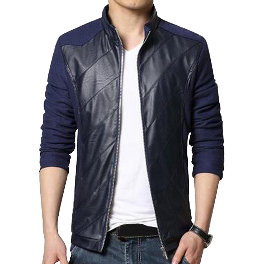 Ткань + PU кожа мужская минималистский стиль тонкий кожаное пальто молнии пальто мужское кожаное в москве